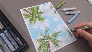 오일파스텔로 야자수가 있는 풍경 그리기/Oil pastel drawing with palm trees and sky
