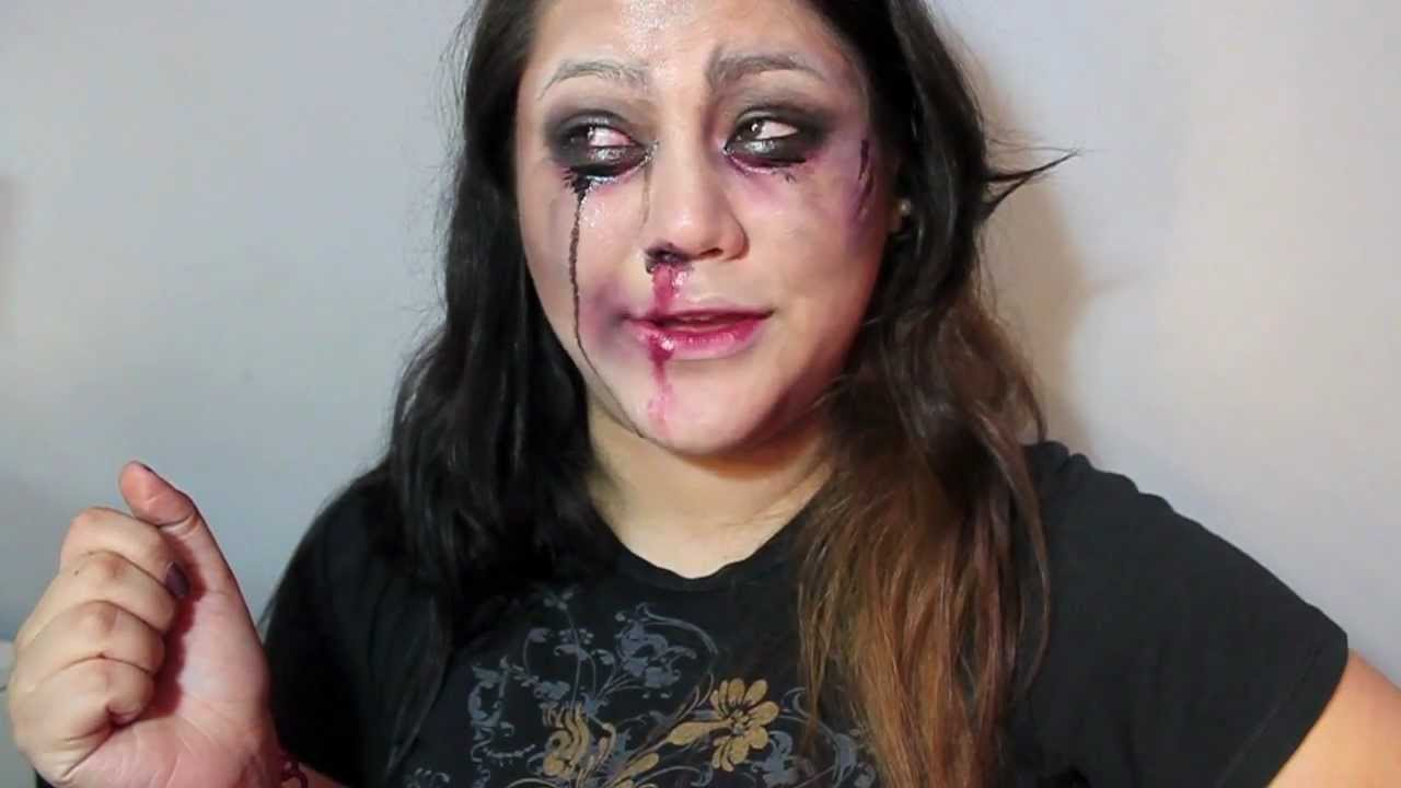 Halloween Makeup: Zombie Bride (Beat up with Bloody Nose) - YouTube