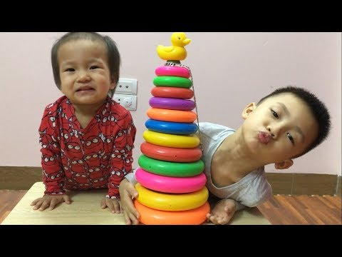 Learn Colors with Stacking Rings | 銇ц壊銈掑銇� 璧ゃ仭銈冦倱銇辜鍏� - 瀛愪緵銇仧銈併伄鑹层仴