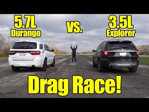 Dodge Durango HEMI vs Ford Explorer Ecoboost Drag Race!  It's Kunes Country Prize Fights!