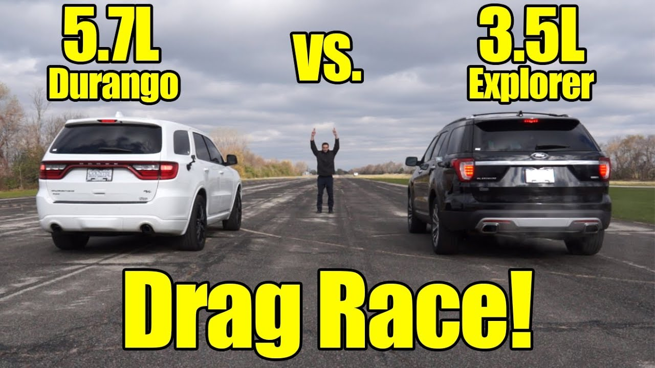 Dodge Durango Hemi Vs Ford Explorer Ecoboost Drag Race It S Kunes Country Prize Fights