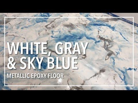 Snow White, Gray, Sky Blue Epoxy Floor
