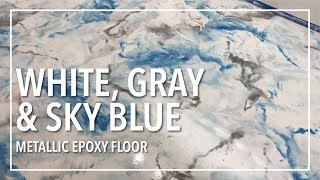 Snow White, Gray, Sky Blue Epoxy Floor