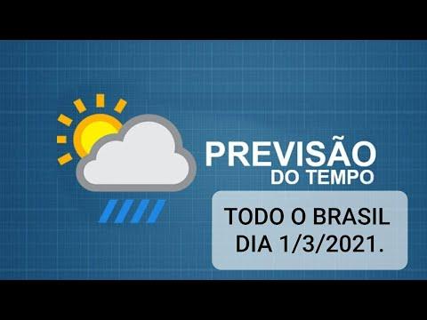 Previsão do tempo para todo Brasil Dia 1/3/2021.