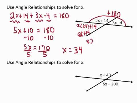 Solve for x with vertical angles or linear pairs - YouTube