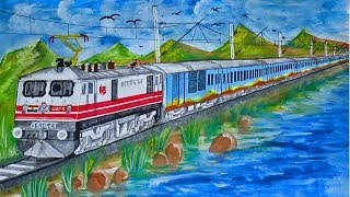 Bandra - Patna Humsafar Express through scenic location - SKETCHING
