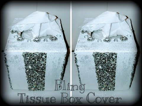 💕DIY Video💕 Bling Tissue Box Cover From Cardboard