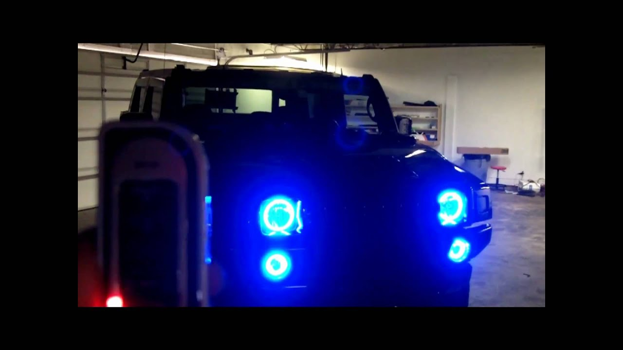 Project Blue Shift Halo Led Lights On Hummer H2 Youtube