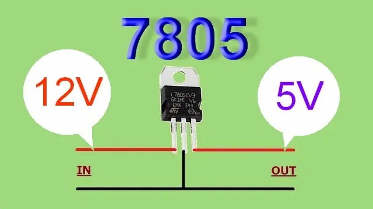 วงจรแปลงไฟ DC 12V เป็น  DC 5V ด้วย IC 7805