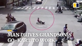 Man drives grandson's go-kart in rush to work in China