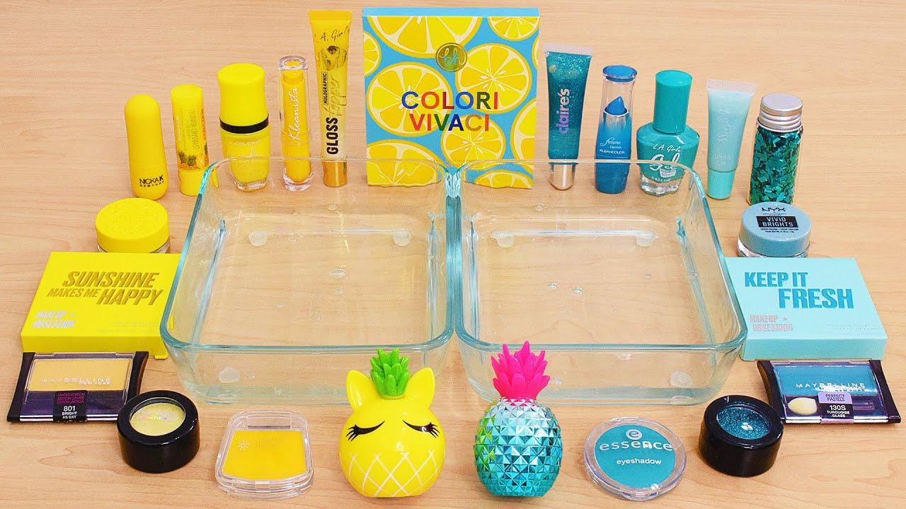 Yellow vs Teal - Mixing Makeup Eyeshadow Into Slime ASMR