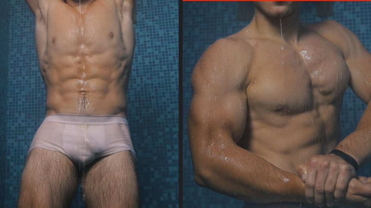 Awesome flexing show in shower from Young Bodybuilding champion Andrey Muscle