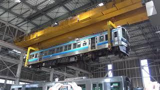 JR西日本213系空中散歩クレーン吊り上げ 網干車両所