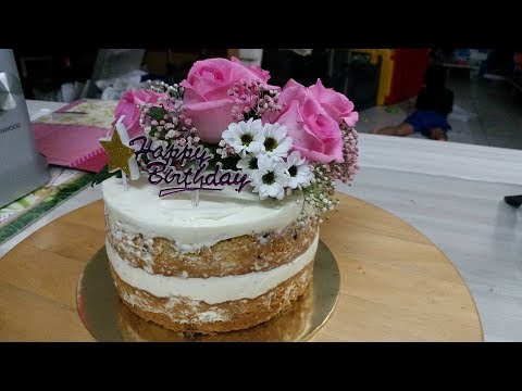 Naked Fresh Flower Cake Moms Birthday Cake YouTube