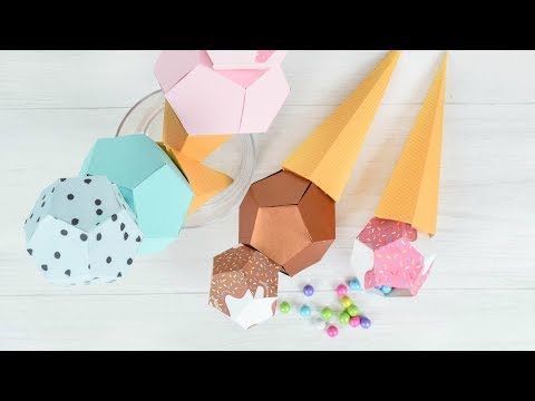 3D Paper Ice Cream Template and Tutorial
