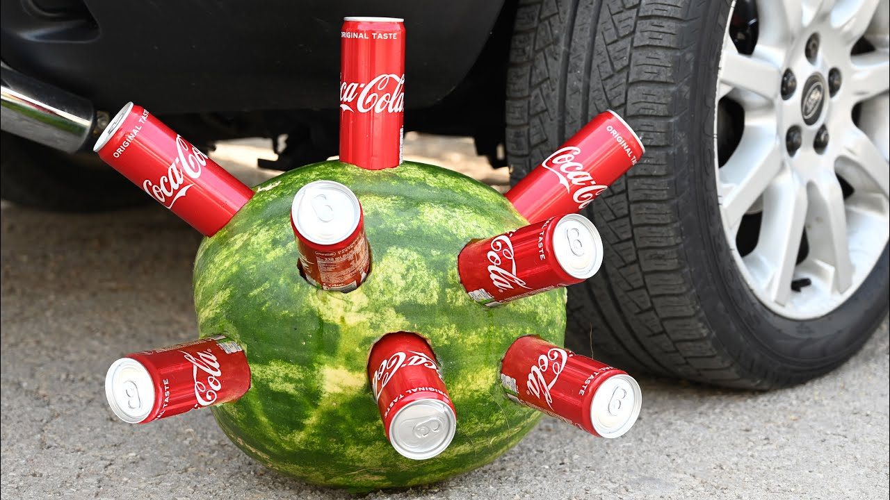 EXPERIMENT Car vs WATERMELON & Coca-Cola Crushing Crunchy & Soft Things by Car