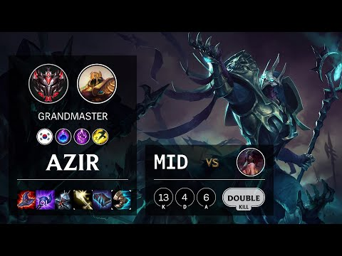 Azir Mid vs Akali - KR Grandmaster Patch 10.15