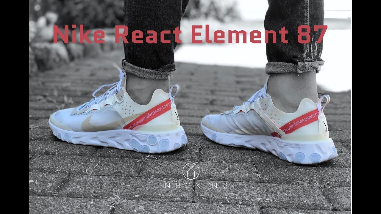 best loved 31020 85102 Nike React Element 87  Sail Light Bone Black    UNBOXING   ON FEET    fashion shoes   4K
