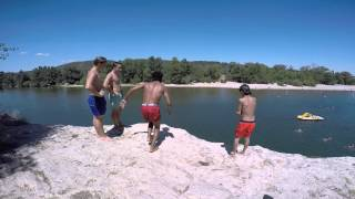 cliff jumping and swimming in the gorge at saint-martin d'ardèche