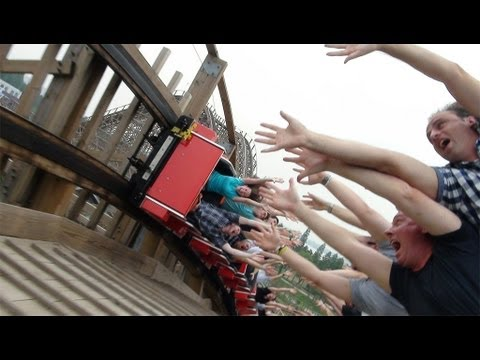 High Five Wooden Roller Coaster POV On-Ride Happy Valley Wuhan China Dauling Dragon