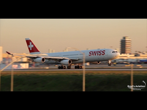 Swiss Airbus A340-300 Amazing Sunset Landing - Los Angeles KLAX