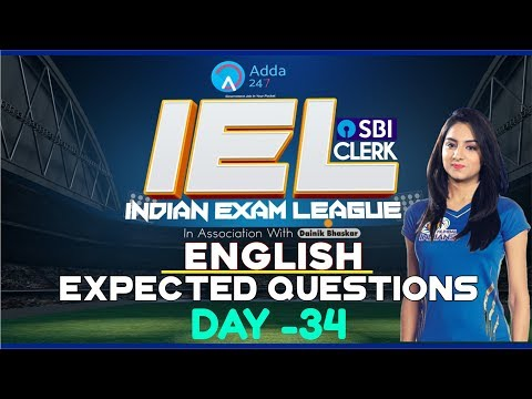 80 Days Study Plan   Expected Questions Of SBI CLERK PRE   IEL   ENGLISH   Day-34
