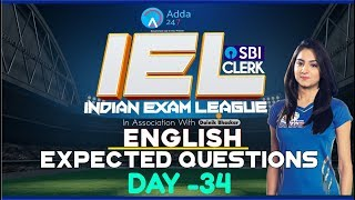 80 Days Study Plan | Expected Questions Of SBI CLERK PRE | IEL | ENGLISH | Day-34