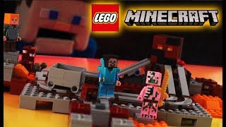 Minecraft Nether Railway LEGO Stop motion Set Magma Cube Zombie Pigman 21130 Unboxing