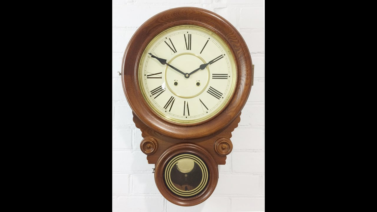 Clock Strike Sound Antique Dual Round Face Drop Dial Pendulum Wall 856 Bidaway Exibit Collection