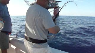 "Big Yellowfin Tuna Gulf of Mexico Marlin Rig Deep Sea Offshore fishing near ""Thing of Fire"""