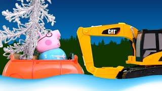 Игрушки украшают новогоднюю елку. Папа застрял в снегу