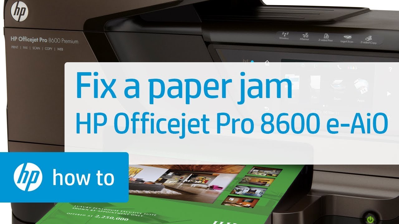 Fixing a Paper Jam | HP Officejet Pro 8600 e-All-in-One Printer | HP