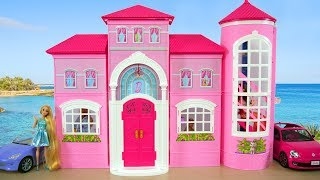 Barbie Malibu House Unboxing \u0026 Setup! Pink Dollhouse Rumah boneka Barbie Casa de boneca