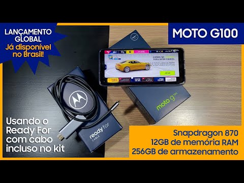 Motorola Moto G100 usando o Ready For com cabo incluso no Kit