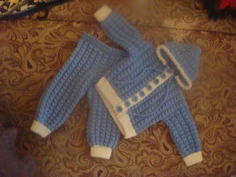 Cмотреть онлайн Костюмчик для малыша спицами. Часть 1.  suit for baby knitting