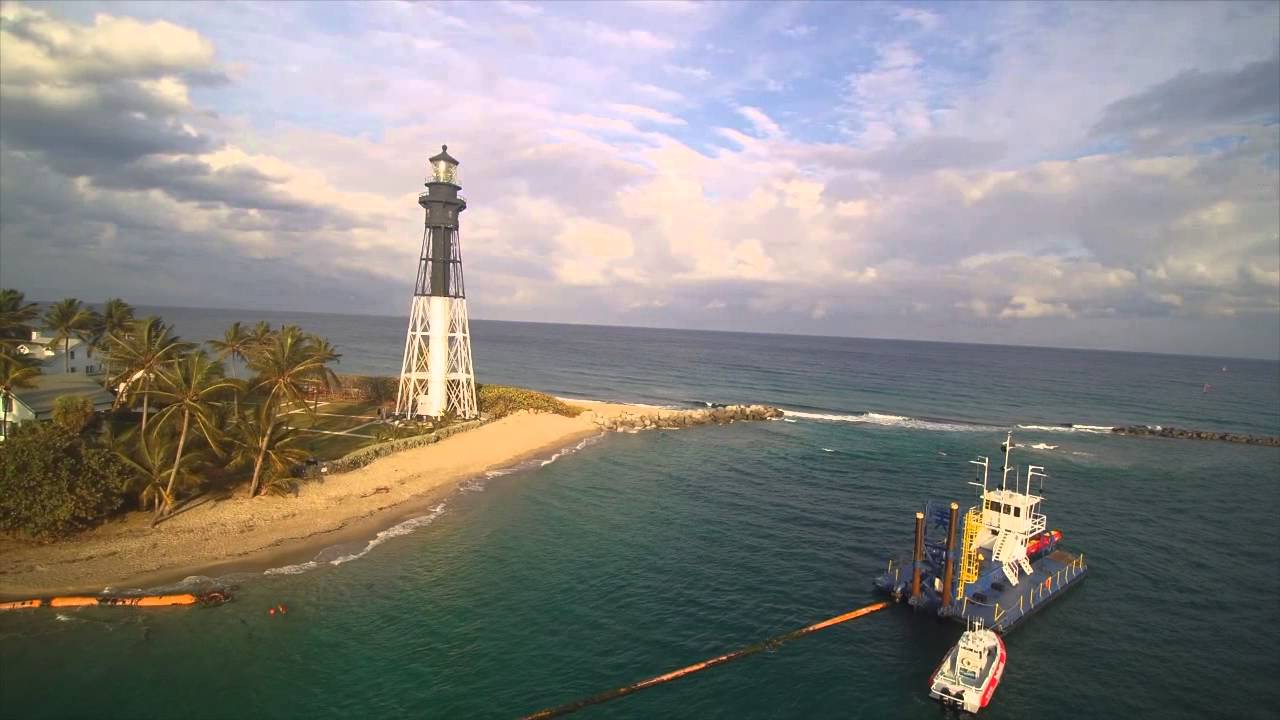 Aerial sunset evening at hillsboro inlet lighthouse pompano beach aerial sunset evening at hillsboro inlet lighthouse pompano beach florida usa nvjuhfo Gallery