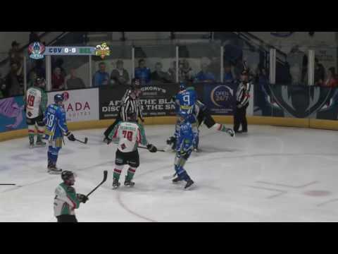 Darcy Zajac hits Mike Quesnele - Boxill vs Zajac EIHL 15-10-16