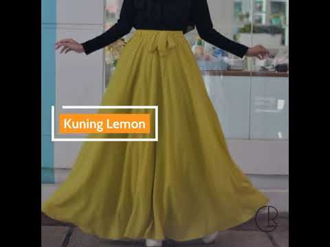 Warna Baru Rok Panjang Sifon / Chiffon Ceruty Umbrella Skirt