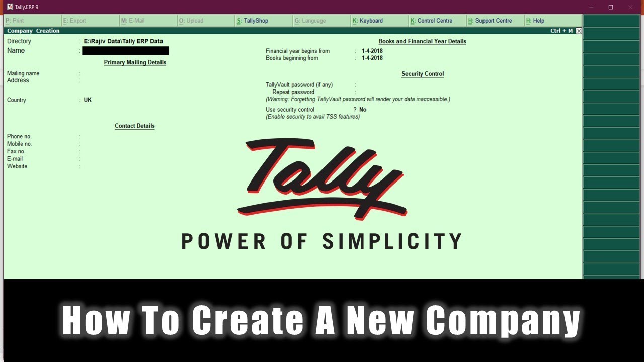 Getting Started With Tally ERP 9 Tutorial - Create New Company - Lesson 2 - YouTube