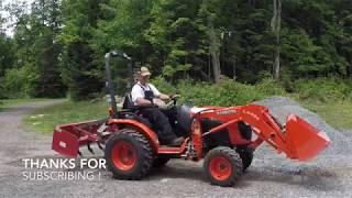 #68 Kubota B2601 Compact Tractor and BECO Box Blade   Grade  Gravel  Repeat