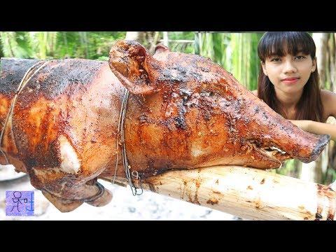 Heo Rừng Quay Bả Mía Cùng Với Em Gái 18 .Ẩm Thực Rừng Núi Dân Dã . Grilled wild pigs