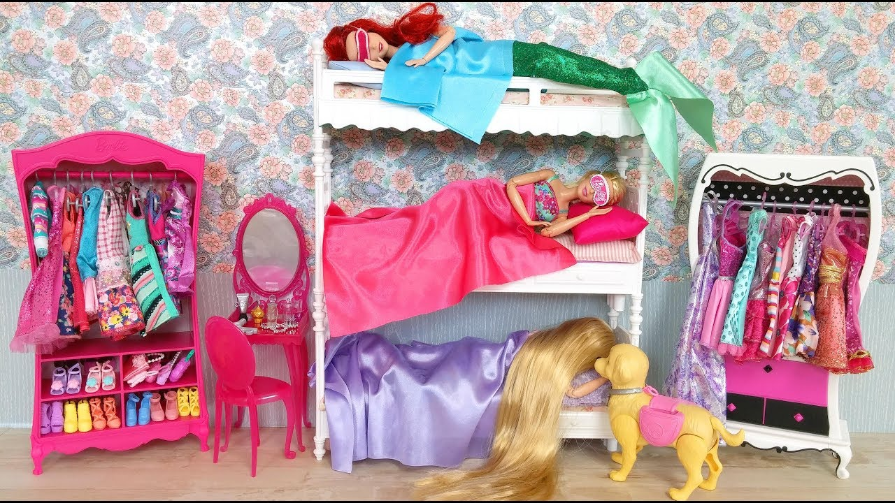 Barbie Rapunzel Little Mermaid Ariel Bunk Bed Morning Routine Breakfast at McDonalds & Barbie Rapunzel Little Mermaid Ariel Bunk Bed Morning Routine ...