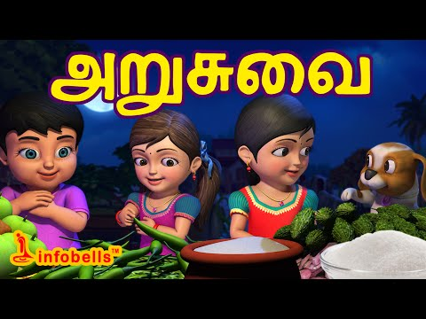 அறுசுவை | Tamil Rhymes for Children | Learn Tastes | Infobells