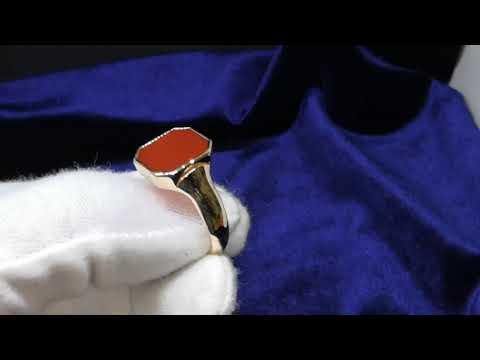 Мужской перстень с сердоликом, золото 585 пробы 9.9 гр., размер 22