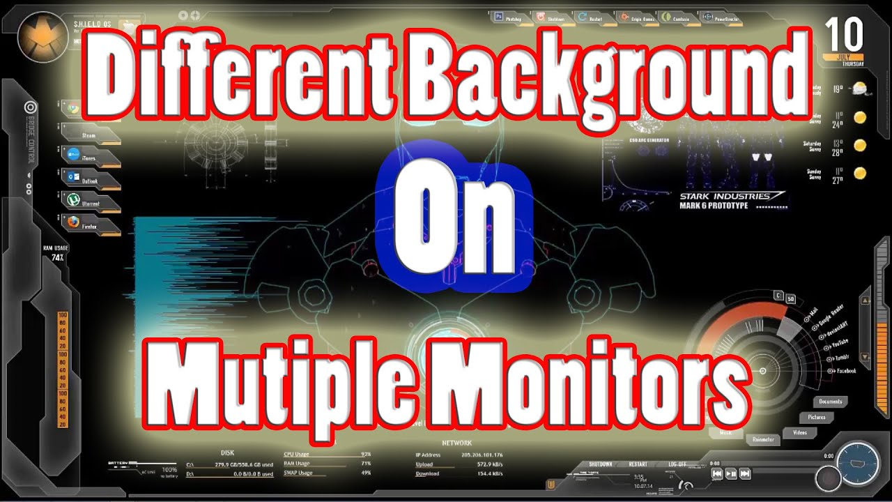 How Do I Get Different Backgrounds On Multiple Monitors - YouTube