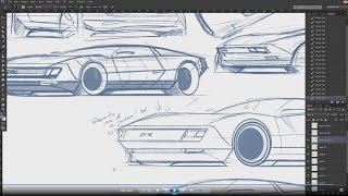 20 minutes of sketching some Deloreans with Yasid Design