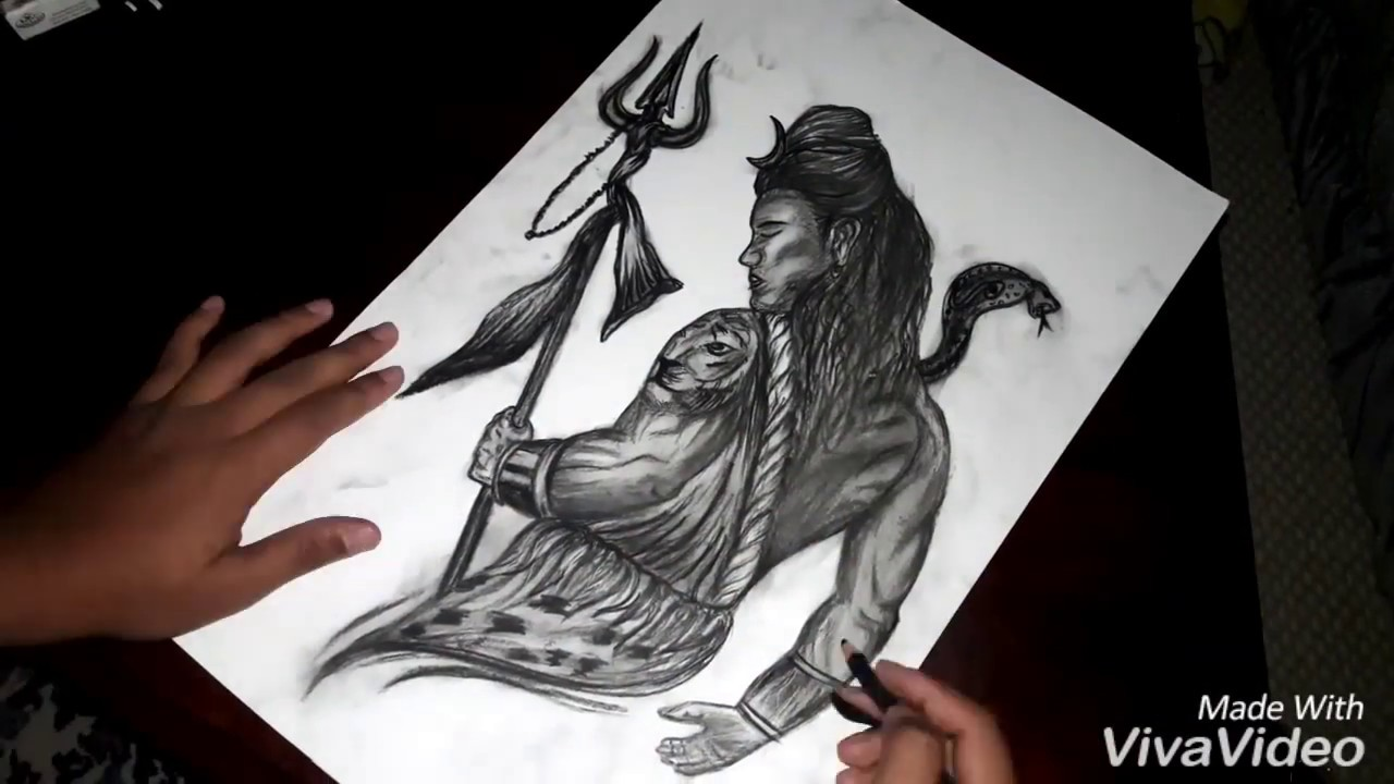Sketch of lord shiva the destroyer by charcoal time lapse