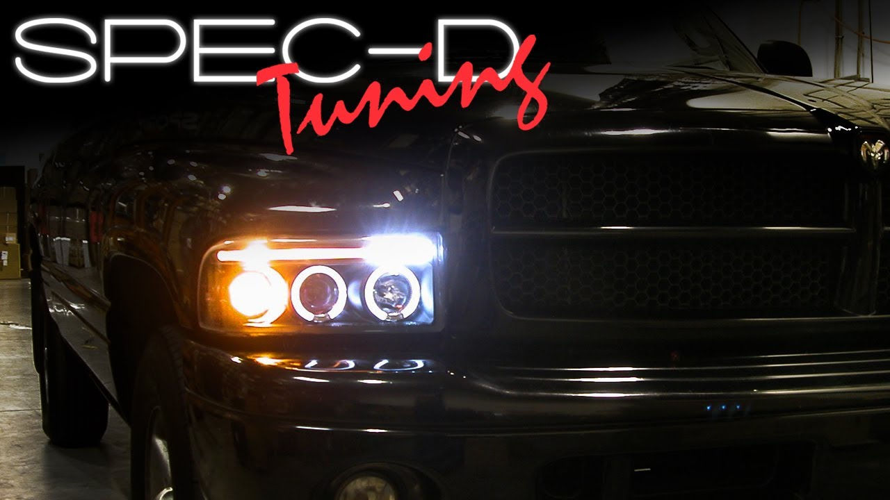 small resolution of specdtuning installation video 1994 2001 dodge ram head lights projector head lights youtube