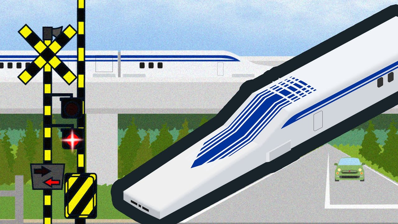 速いリニア中央新幹線 | JAPANESE BULLET TRAIN (Shinkansen), Linear(Maglev) and Railway crossing