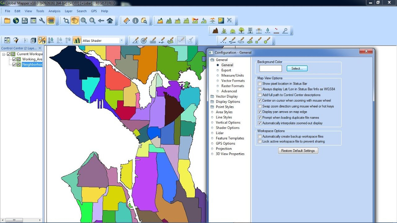How to modify the projection and datum in Global Mapper